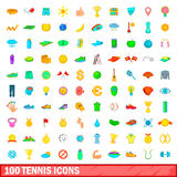 100 tennis icons set, cartoon style. 100 tennis icons set in cartoon style for any design vector illustration Royalty Free Stock Images