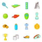 Tennis icons set, cartoon style Royalty Free Stock Photo