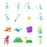Tennis icons set, cartoon style Stock Photos