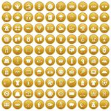 100 tennis icons set gold. 100 tennis icons set in gold circle isolated on white vector illustration Stock Photos
