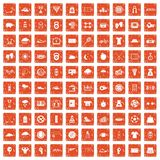 100 tennis icons set grunge orange. 100 tennis icons set in grunge style orange color isolated on white background vector illustration stock illustration