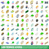 100 tennis icons set, isometric 3d style Royalty Free Stock Image
