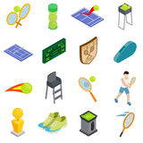 Tennis icons set, isometric 3d style. Tennis icons set in isometric 3d style  on white background Stock Photos