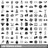 100 tennis icons set, simple style. 100 tennis icons set in simple style for any design vector illustration Stock Illustration