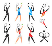 Tennis icons symbols. Set of black and colorful icons of tennis. Vector available Royalty Free Stock Images