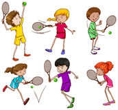 Tennis. Illustration of different positions of tennis players Royalty Free Stock Photography