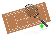 Tennis illustration with rackets and terrain Royalty Free Stock Photography