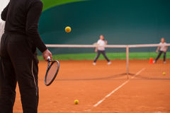 Tennis instructor Royalty Free Stock Photos