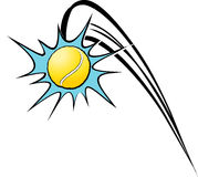 Tennis Kaboom. Cartoon style illustration of a tennis ball flying through the air, in a cartoon style action element Stock Photo