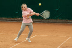 Tennis kid tournament. V TENNIS KIDS TOURNAMENT, UKRAINE, KIEV – MAY 18 : Unknown kid players from all over the Ukraine in action at a V Kids Tournament on May Stock Image