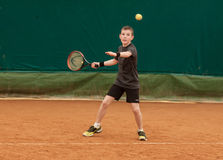 Tennis kid tournament. V TENNIS KIDS TOURNAMENT, UKRAINE, KIEV – MAY 18 : Unknown kid players from all over the Ukraine in action at a V Kids Tournament on May Royalty Free Stock Photo