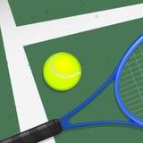 Tennis-Kugel u. Schläger Stockfoto