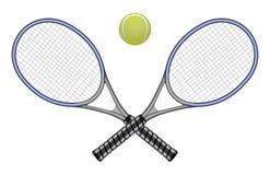 Tennis-Kugel u. Schläger Stockfotos
