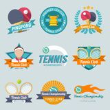Tennis Label Set. Tennis championship pingpong tournament premiere league label set isolated vector illustration Stock Image