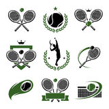 Tennis labels and icons set. Vector. Illustration royalty free illustration