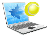 Tennis laptop concept Stock Photos