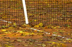 Tennis Leafs. Tennis field covered by fallen autumn leafs Stock Photography