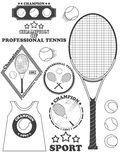 Tennis league labels, emblems and design elements. Vector Royalty Free Stock Images