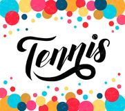 Tennis lettering text with tennis ball on white background with multicolor circles, illustration. vector illustration