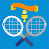 TENNIS ON LIGHT HARD COURT. White tennis racquets with the green tennis ball decorated with banner and trophy on light blue background Stock Photos