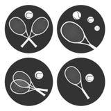 Tennis logo ball and racket vector illustration