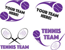 Tennis logo for shirt or team design, set of four Stock Photography