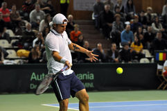 Tennis man Adrian Ungur in action at a Davis Cup match Stock Image