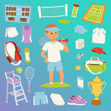Tennis man character and icons sport vector collection vector. Athlete stylized patches icons. Champion training exercise fashion equipment background. Fitness Royalty Free Stock Photos