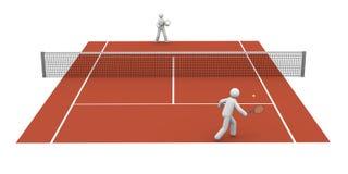 Tennis Match. On a clay court Stock Photos