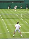 Tennis Match. Rodger Federer vs Richard Gasquet in Wimbledon Stock Image
