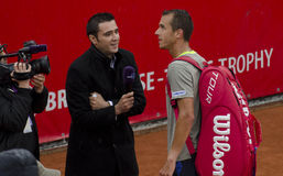 Tennis match - Gilles Simon vs Lukas Rosol Royalty Free Stock Photos