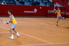 Tennis match. Image from the central arena of BNR Arenas,Bucharest, 35 Dr. Lister Street during the double tennis match between Jean-Julien ROJER/Horia TECAU Stock Image
