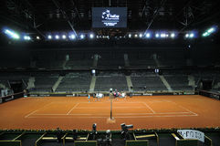 Tennis match in a indoor stadium Royalty Free Stock Image