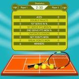 Tennis match statistics vector illustration