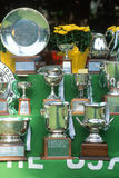 Tennis match trophies on display Stock Image