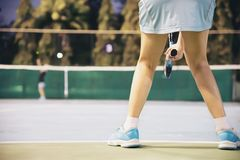 Tennis match which the opponent serving lady player royalty free stock photography