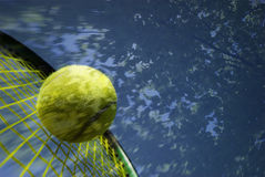 Tennis Memory. Tennis Racket and Yellow Ball . Artistic Childhood Memory of my own stock image
