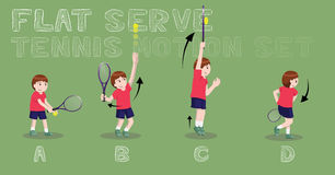 Tennis Motion Flat Serve Boy Vector Illustration Royalty Free Stock Photos