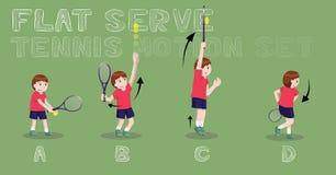Tennis Motion Flat Serve Boy Vector Illustration Royalty Free Stock Photos