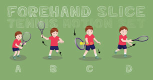 Tennis Motion Forehand Slice Boy Vector Illustration Stock Photos