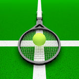 Tennis - my religion!. Tennis racket and ball on a green background vector illustration