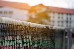 Tennis net on court background. Tennis net on blur court and abstract background Stock Image