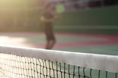 Tennis net on court background. Tennis net on blur court and abstract background Stock Images
