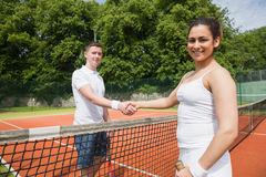 Tennis opponents shaking hands before match Royalty Free Stock Photography