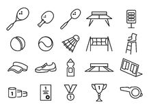 Tennis, ping pong and badminton icons Royalty Free Stock Photo