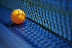 Tennis ping pong ball with net Stock Photos