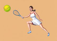 Tennis player. Woman tennis player. Hand painted illustration Stock Photo