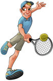 Tennis player. Running to hit the ball in backhand Royalty Free Stock Photos
