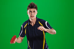 Tennis-player. Young man tennis-player in play on chroma key Stock Image