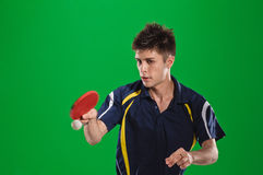 Tennis-player. Young man tennis-player in play on chroma key Stock Photo